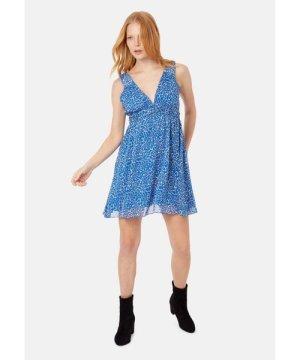 Traffic People Sleeveless V-Neck Mini Dress in Blue Animal Print