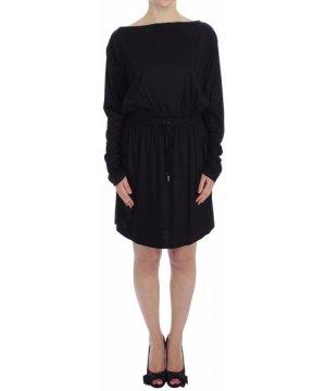 Versace Jeans Black Modal Silk Shift Knee Dress