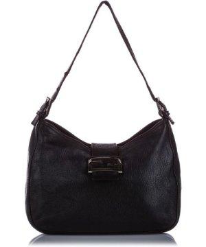 Fendi preowned Vintage Mamma Forever Leather Shoulder Bag Black