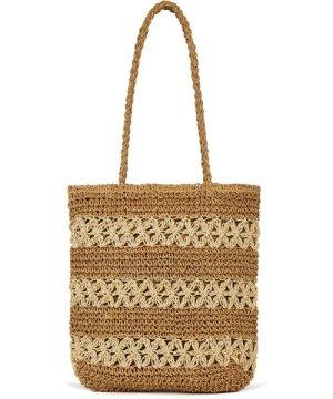 Yumi Handmade Straw Striped Tote Bag