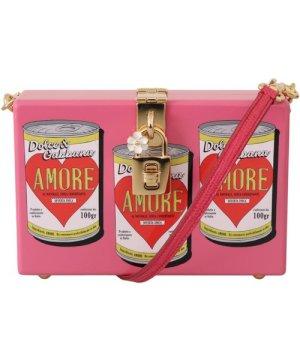 Dolce & Gabbana Pink Clutch Box Shoulder Hand Bag Purse Wooden AMORE