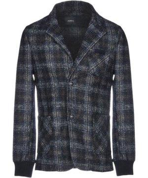 Alpha Studio Dark Blue Tartan Single Breasted Jacket