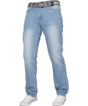 Enzo Mens Designer Regular Fit Denim Jeans | Menswear