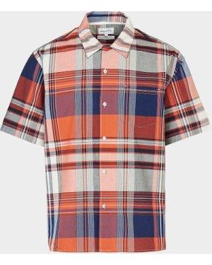 Men's Norse Projects Madras Check Short Sleeve Shirt Orange, Orange