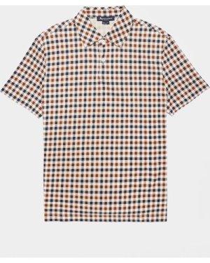 Men's Aquascutum Andy Small Check Short Sleeve Polo Shirt Multi, Multi