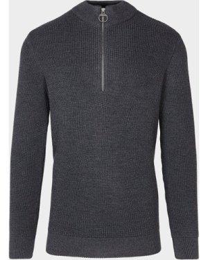 Men's Barbour Half Zip Knitted Sweatshirt Grey, Grey/Grey