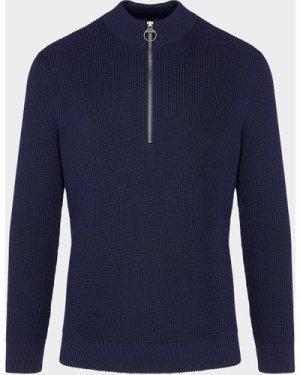 Men's Barbour Half Zip Knitted Sweatshirt Blue, Navy/Navy