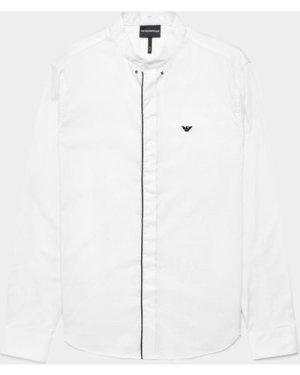 Men's Emporio Armani Tip Placket Long Sleeve Shirt White, White
