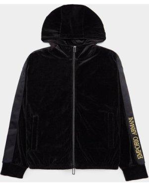 Men's Emporio Armani Logo Velour Hoodie Black, Black