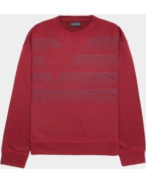 Men's Emporio Armani Text Eagle Sweatshirt Red, Red