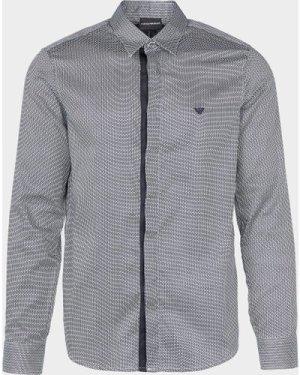 Men's Emporio Armani Micro Print Long Sleeve Shirt Grey, Grey