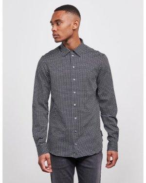 Men's Emporio Armani All Over Jacquard Long Sleeve Shirt Black, Black