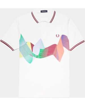 Men's Fred Perry Abstract Short Sleeve Polo Shirt White, White/White