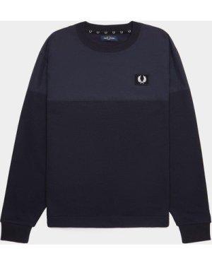 Men's Fred Perry Woven Panel Sweatshirt Blue, Blue
