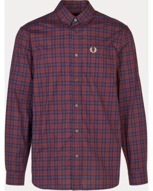 Men's Fred Perry Winter Tartan Long Sleeve Shirt, Burgundy/Burgundy