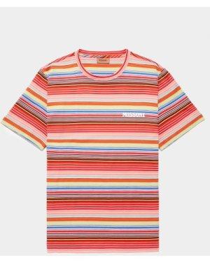 Men's Missoni Chest Logo Short Sleeve Stripe T-Shirt Pink, Pink/Pink