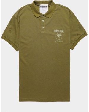 Men's Moschino Milano Short Sleeve Polo Shirt Green, Olive