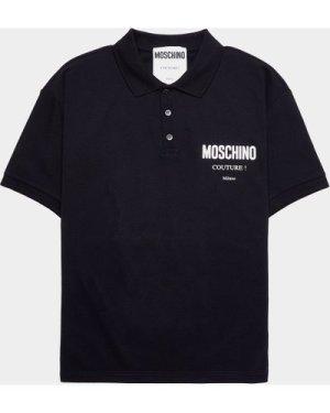 Men's Moschino Iridescent Couture Short Sleeve Polo Shirt Black, Black/Black