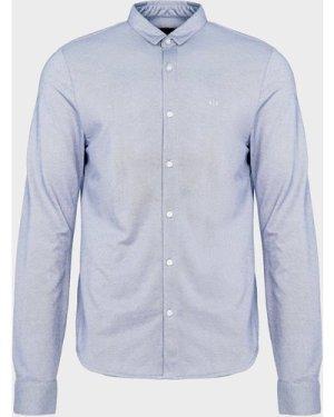 Men's Armani Exchange Pique Long Sleeve Shirt Blue, Blue/Blue
