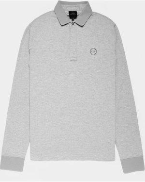 Men's Armani Exchange Chest Logo Long Sleeve Polo Shirt Grey, Grey