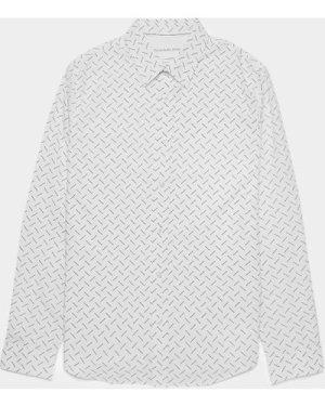 Men's Calvin Klein Jeans All Over Logo Long Sleeve Slim Shirt White, White