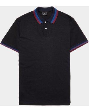 Men's PS Paul Smith Pima Tipped Short Sleeve Polo Shirt Black, Black