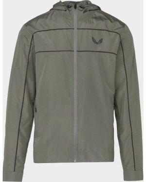Men's Castore Panel Hooded Jacket Green, Olive