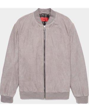 Men's HUGO Leontes Suede Bomber Jacket Grey, Grey