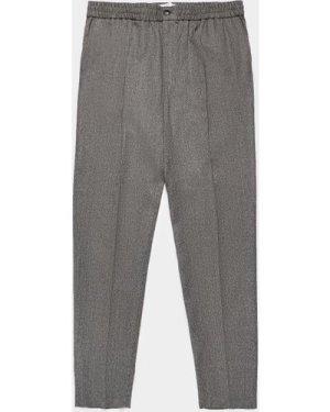 Men's AMI Paris Wool Carrot Trousers Grey, Grey