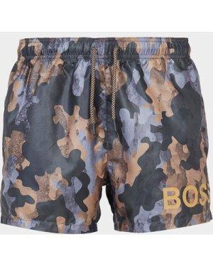 Men's BOSS Camoushark Swim Shorts Green, Khaki/Khaki