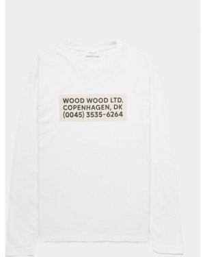 Men's Wood Wood Anakin Info Long Sleeve T-Shirt White, White