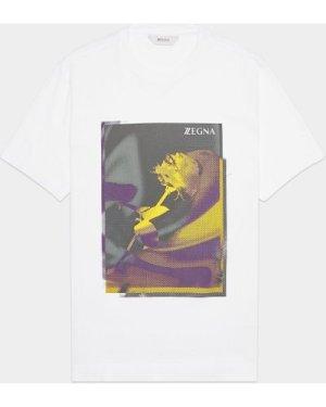 Men's Z Zegna Floral Print Short Sleeve T-Shirt White, White
