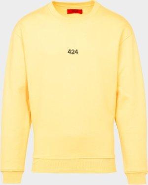 Men's 424 Black Embroidered Sweatshirt Yellow, Yellow