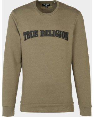 Men's True Religion Felt Logo Sweatshirt Green, Khaki/Khaki