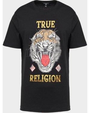Men's True Religion Tiger Print Short Sleeve T-Shirt Black, Black