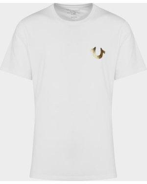 Men's True Religion Gold Horseshoe Short Sleeve T-Shirt White, White