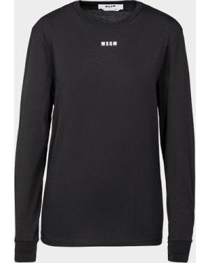 Women's MSGM Small Logo Long Sleeve T-Shirt Black, Black/Black
