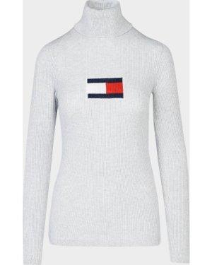 Women's Tommy Jeans Flag Roll Neck Jumper Grey, Grey