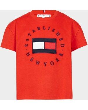 Tommy Hilfiger Girls' Heritage Logo T-Shirt Junior Multi, Red/Navy