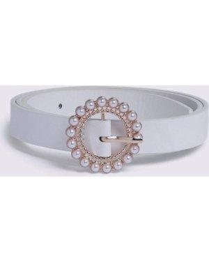 Womens Pearl Buckle Belt - white, White