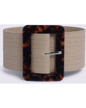 Womens Stitch Detail Textile Belt - tan, Tan