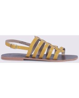 Womens Gladiator Sandal - yellow, Yellow