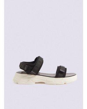 Womens Sporty Contrast Sole Sandal - black, Black