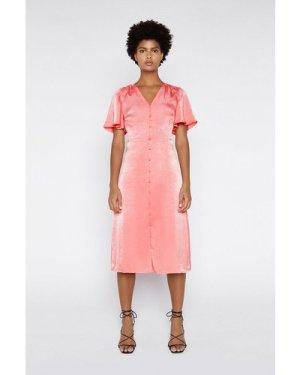 Womens Satin Button Front Midi Dress - coral, Coral