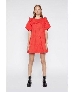 Womens Ruffle Bib Mini Dress - light red, Light Red