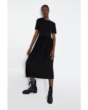 Womens T-Shirt Pleated Midi Dress - black, Black