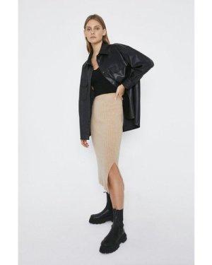 Womens Knitted Ribbed Midi Skirt - oatmeal, Oatmeal