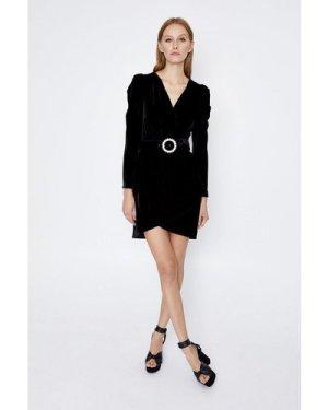 Womens Velvet Buckle Detail Wrap Dress - black, Black