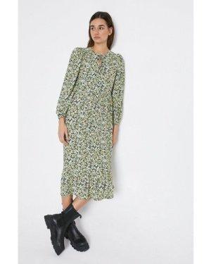 Womens Tie Neck Printed Midi Dress - multi, Multi