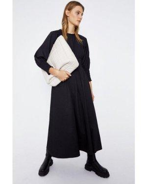 Womens Shirred Waist Midi Dress - black, Black
